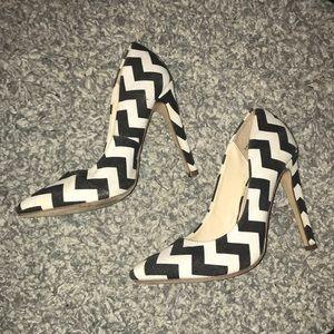 Black and White Chevron Heels